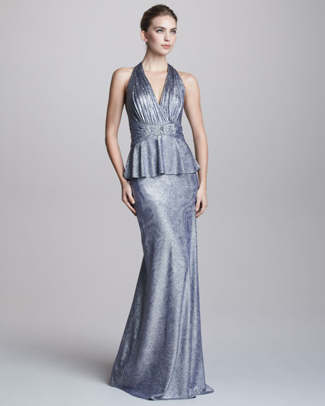 Metallic Halter-Neck Peplum Gown