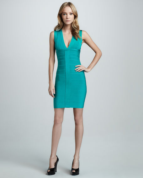 Scallop-Front Bandage Dress