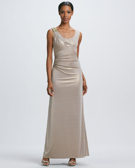 Gathered Metallic Gown