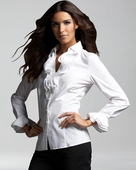 Women'S White Ruffle Blouse 95