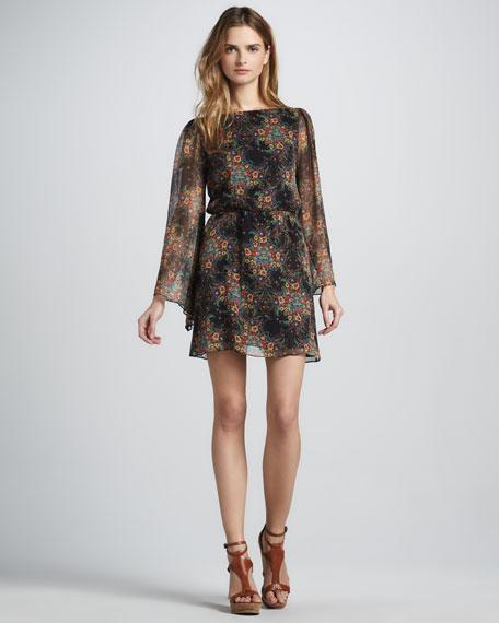 Brenna Printed Long-Sleeve Dress