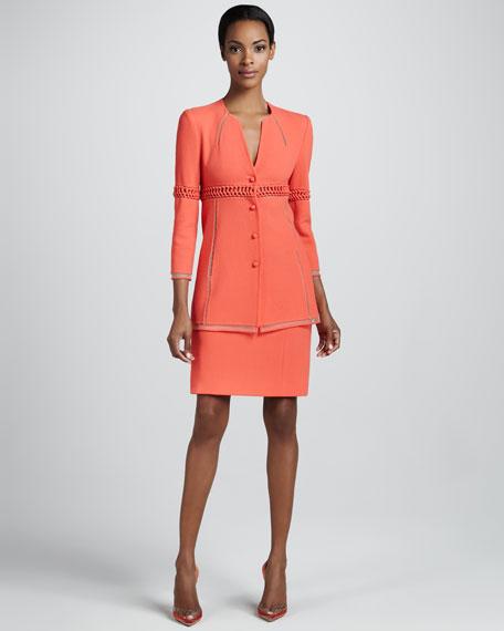 Wool Crepe Straight Skirt, Coral