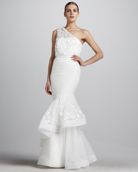 One-Shoulder Gown with Trumpet Skirt