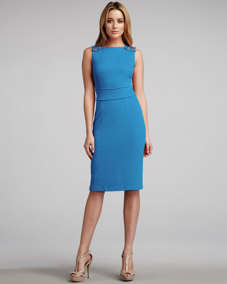 Snap-Shoulder Sheath Dress, Turquoise