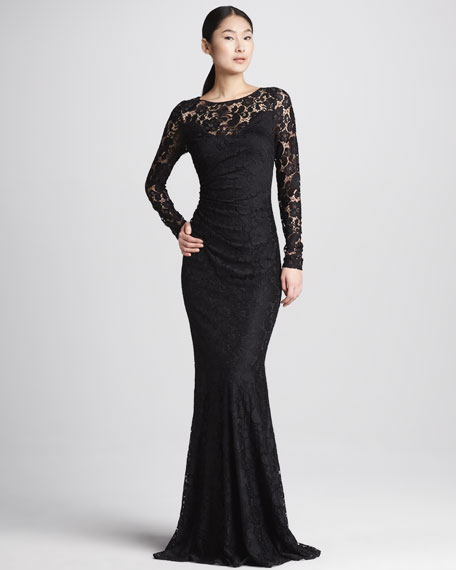 Lace Long-Sleeve Illusion Gown