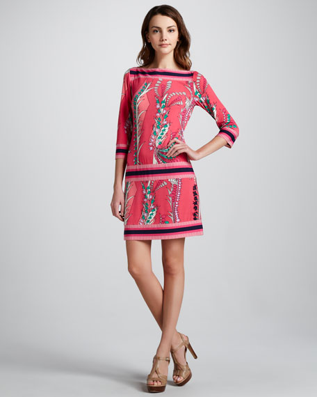 Printed Dropped-Waist Dress