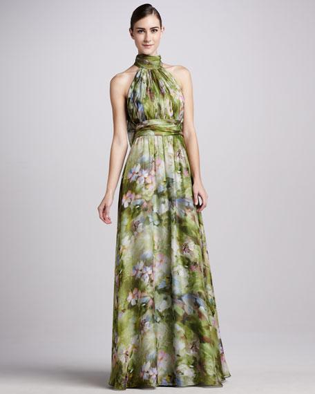 Badgley Mischka Printed Halter Gown