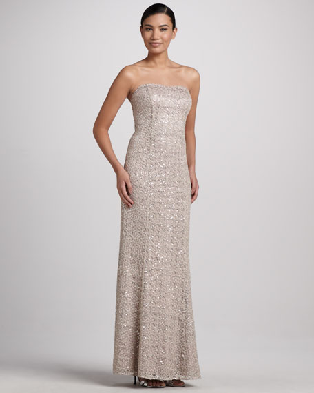 Strapless Gown with Sequined & Lace Overlay