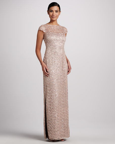 Sequined & Lace Gown