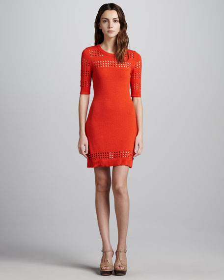 Cutout-Stripe Dress, Persimmon