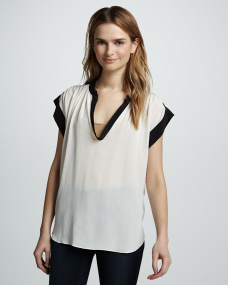 Two-Tone Scoop-Neck Silk Tee
