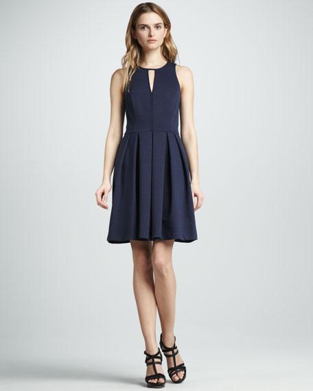 Pleated Keyhole Dress