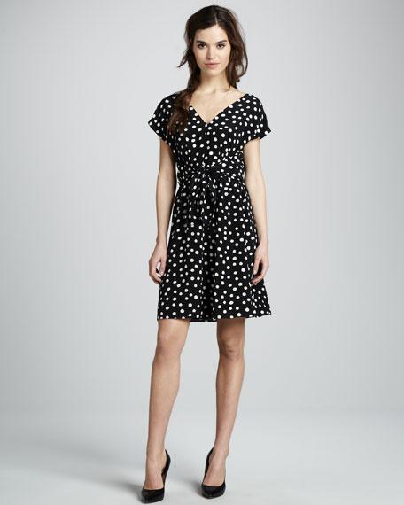 Polka-Dot Silk Tie-Waist Dress