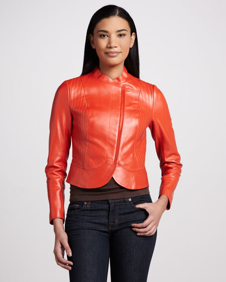 Leather Asymmetric-Zip  Jacket