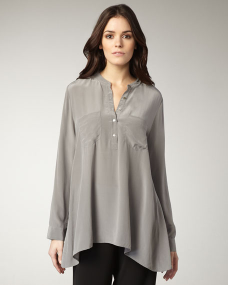 Long Silk Boxy Top, Petite