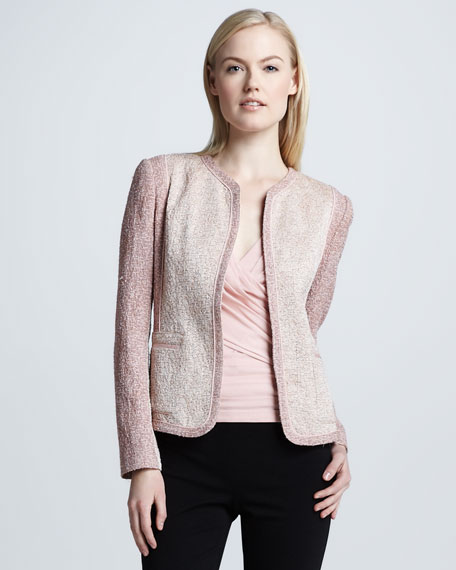Collarless Cardigan Jacket