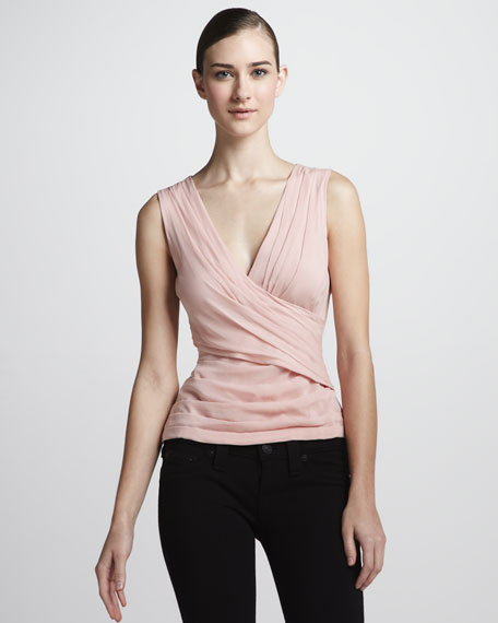 V-Neck Wrap-Front Blouse