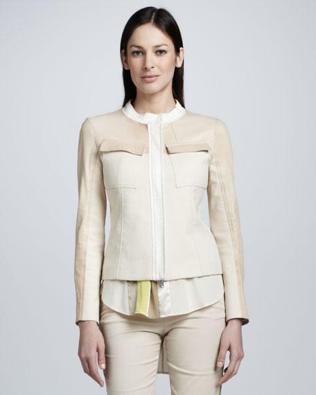 Tweed Leather-Coated Jacket