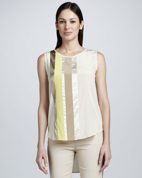 Colorblocked Mixed Media High-Low Blouse