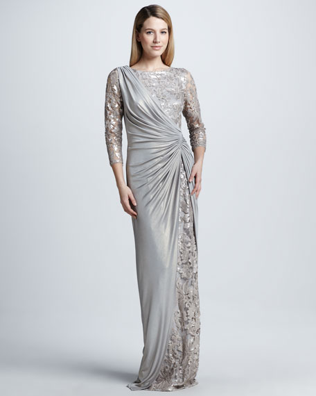 Sequined Lace and Draped Jersey Gown