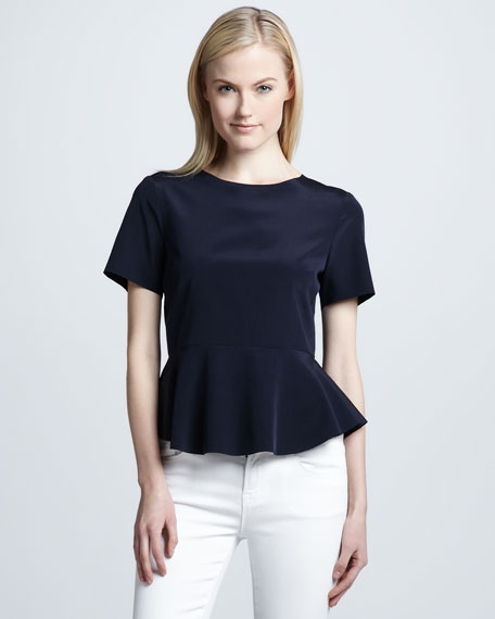 Peplum Waist Stretch-Silk Blouse