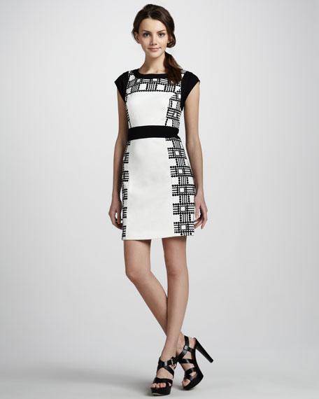 Cap-Sleeve Paneled Dress