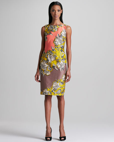 Floral-Print Colorblock Sleeveless Dress