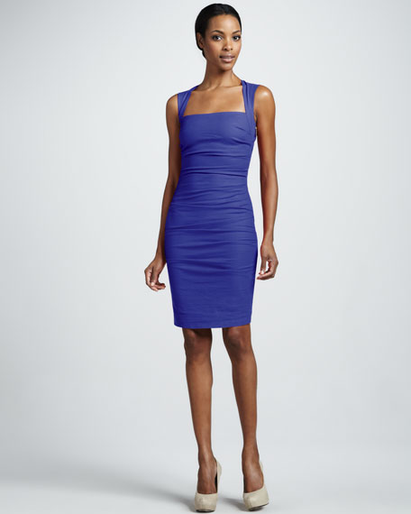 Ruched Square-Neck Dress