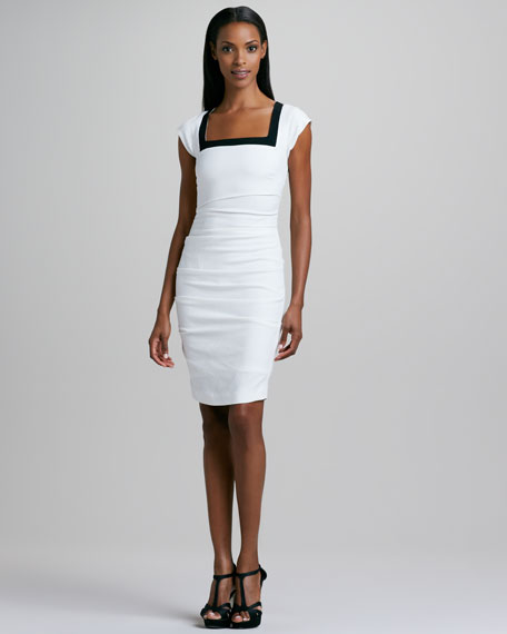 Colorblock Linen-Blend Sheath Dress