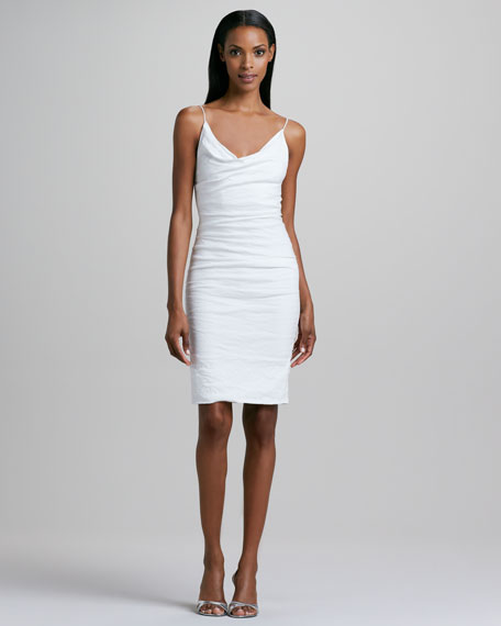 Sleeveless Cowl-Neck Sheath Dress