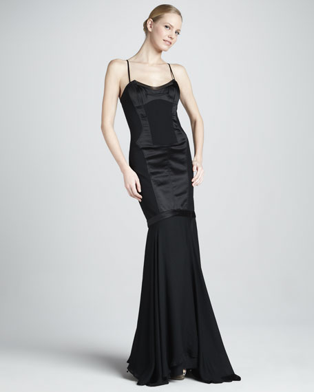 Spaghetti-Strap Illusion Panel Gown