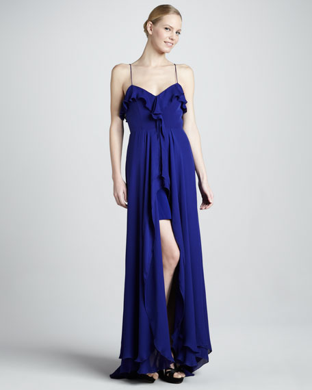 Spaghetti-Strap High-Low Gown