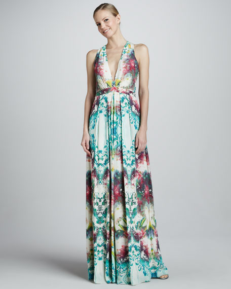 Floral-Print Deep-V Gown