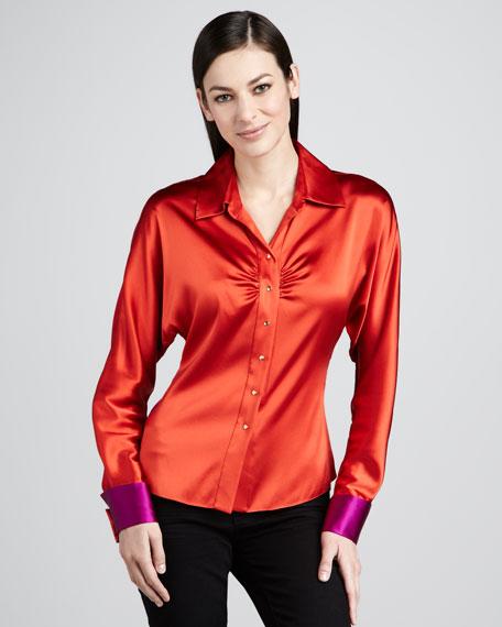 Sandie Colorblock Silk Blouse