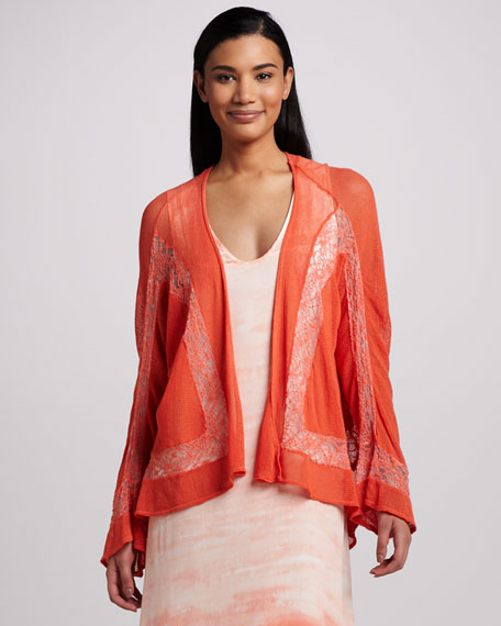 Piru Embroidered Mesh Cardigan, Women's