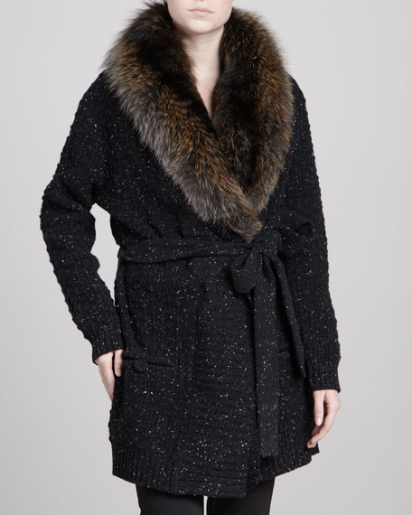 Long Fox Fur-Collar Cardigan
