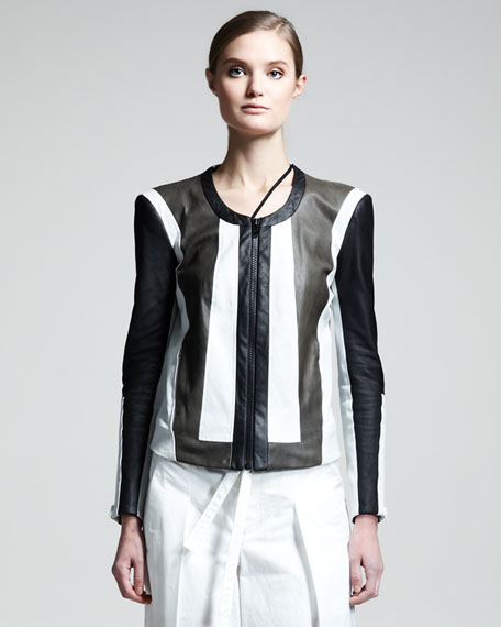 Pax Colorblock Leather Jacket