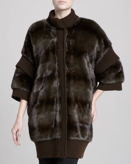 Knit-Trimmed Mink Fur Coat