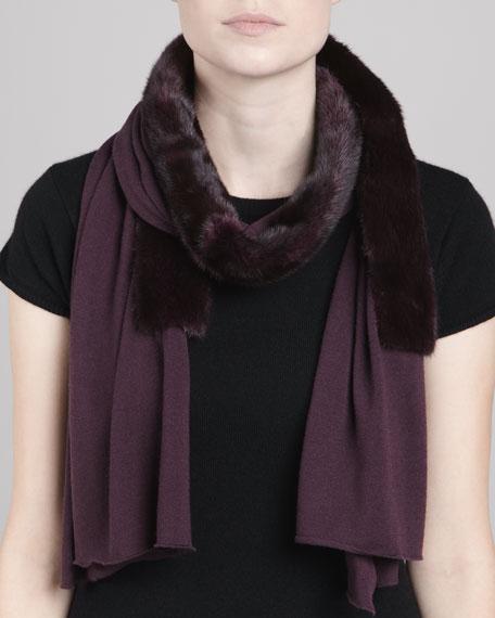 Mink Fur-Paneled Knit Scarf, Amethyst