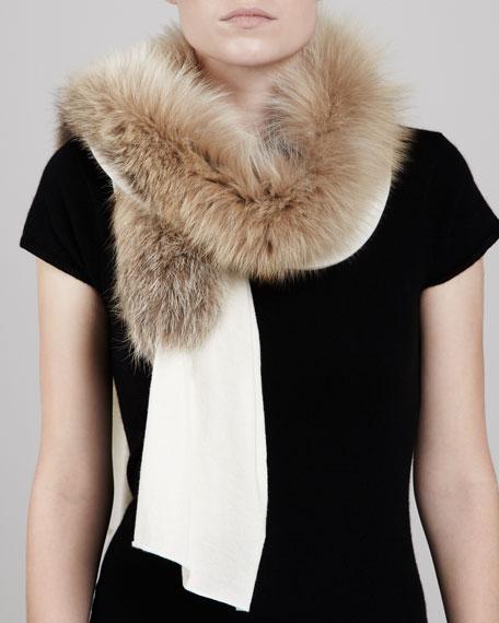 Fox Fur-Paneled Knit Scarf, Bone