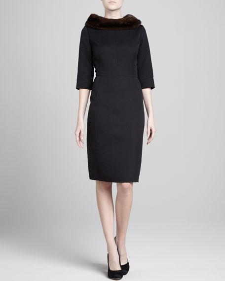Mink Fur-Collar Three-Quarter-Sleeve Dress