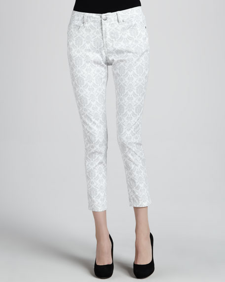 Abby-Skinny Brocade Ankle Jeans