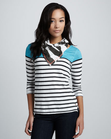 Striped Top With Scarf