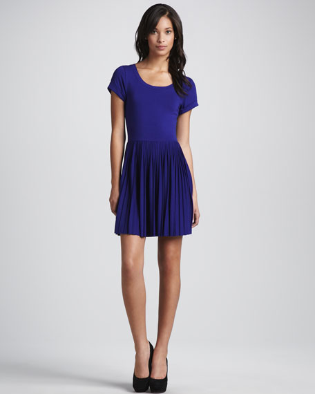 Pleat-Skirt Jersey Dress