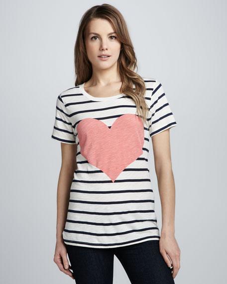 Striped Heart-Print Tee