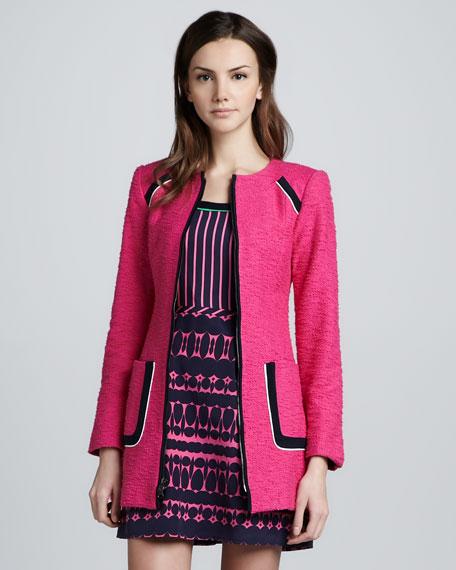 Long Collarless Tweed Coat, Pink/Navy