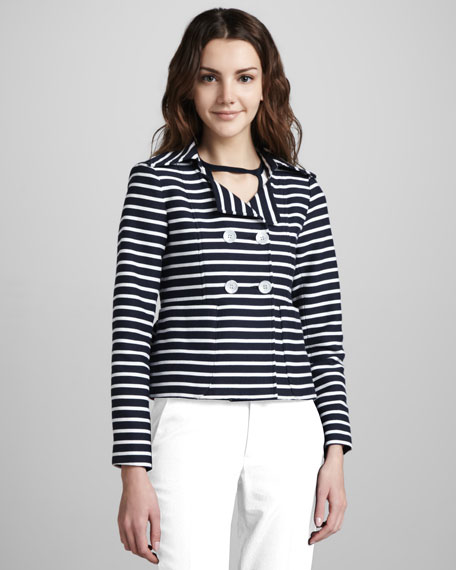 Striped Double-Breasted Knit Jacket