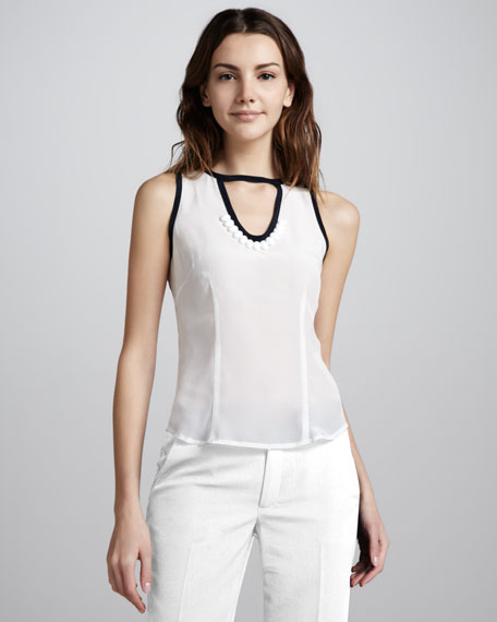 Sleeveless Contrast-Trim Top