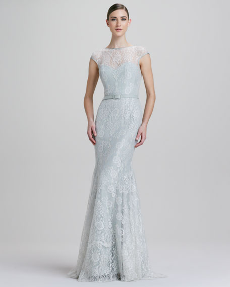 Fit-and-Flare Metallic Lace Illusion Gown