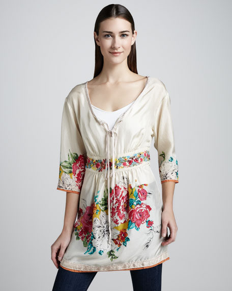 Layered Floral Georgette Blouse, Women's
